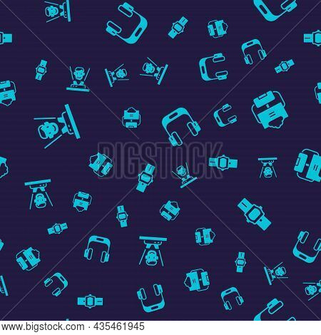 Set Hologram, Cloud Database, Headphones And Wrist Watch On Seamless Pattern. Vector