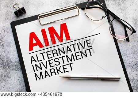 Concept Image Of Business Acronym Aim Alternative Investment Market Written Over Road Marking Yellow