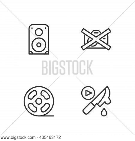 Set Line Thriller Movie, Film Reel, Stereo Speaker And Prohibition No Video Recording Icon. Vector