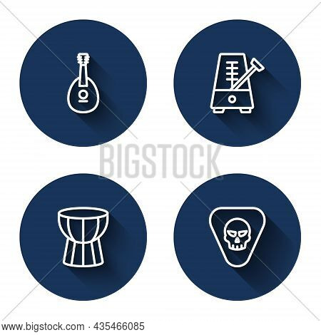 Set Line Mandolin, Metronome With Pendulum, African Darbuka Drum And Guitar Pick With Long Shadow. B