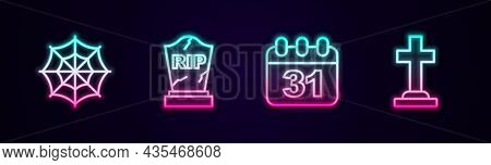 Set Line Spider Web, Tombstone With Rip Written, Halloween Date 31 October And Cross. Glowing Neon I
