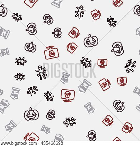 Set Line Voodoo Doll, Pumpkin, Tombstone With Rip Written And Skull On Seamless Pattern. Vector