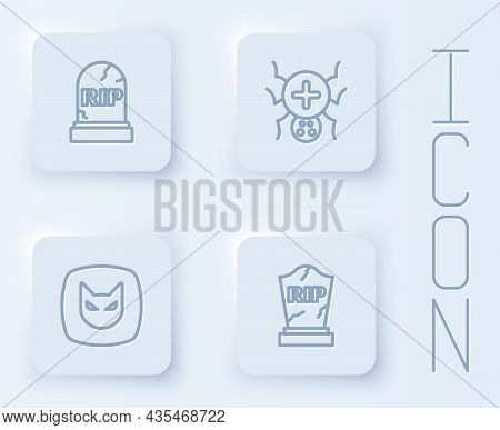 Set Line Tombstone With Rip Written, Spider, Black Cat And . White Square Button. Vector