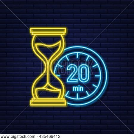 The 20 Minutes, Stopwatch Vector Neon Icon. Stopwatch Icon In Flat Style, Timer On On Color Backgrou