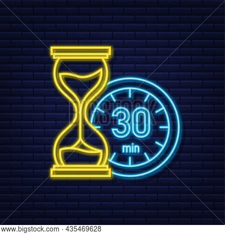 The 30 Minutes, Stopwatch Vector Neon Icon. Stopwatch Icon In Flat Style, Timer On On Color Backgrou