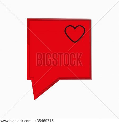 Red Message Sign With Heart. Rectangle Speech Dialogue Icon. Communication Concept. Vector Illustrat