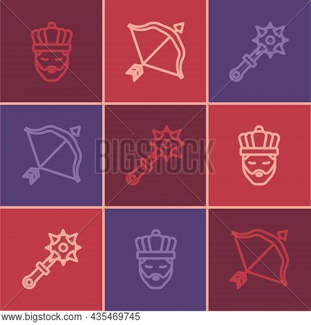 Set Line King With Crown, Mace Spikes And Medieval Bow And Arrow Icon. Vector