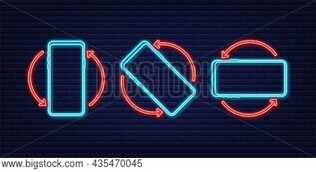 Rotate Smartphone Isolated Icon. Neon Icon. Device Rotation Symbol. Turn Your Device. Vector Illustr