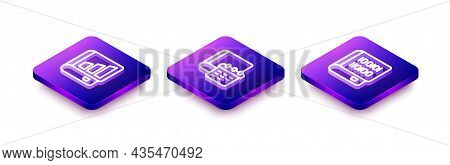 Set Isometric Line Financial Book, Daily Paper Notepad And Books About Programming Icon. Vector