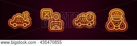 Set Line Broken Taxi Car, Taxi Driver, Waiting Time And . Glowing Neon Icon. Vector