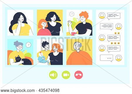 Big Family Having Video Call From Home Over Phone Or Computer. Parents With Kids, Woman With Child,