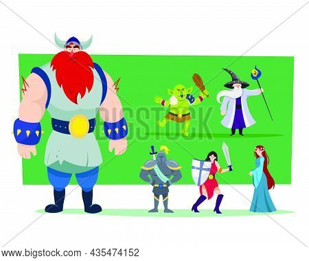 Cartoon Heroes And Monster Vector Illustrations Set. Giant Viking, Orc, Female Warrior With Sword An