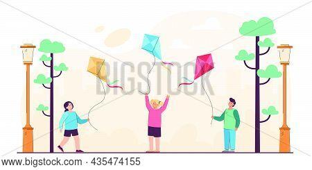 Cartoon Kids Holding Flying Kites In City Park. Flat Vector Illustration. Little Girls And Boy Havin