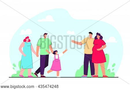 Friendship Of Families Flat Vector Illustration. Couple Expecting Baby And Parents With Daughter Mee