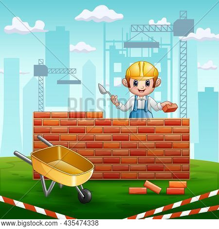 A Man Builder With A Trowel In His Hand Builds A Brick Wall