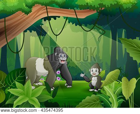 A Mother Gorilla With Her Cub In The Jungle Illustration