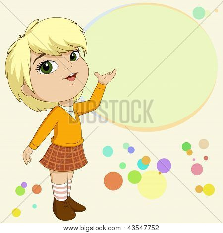 Cute Blonde Little Girl Present With Background