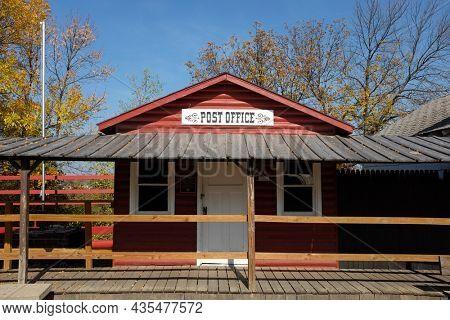 JAMESTOWN, NORTH DAKOTA - 3 OCT 2021: Frontier Town Post Office on Louis L'Amour Lane.