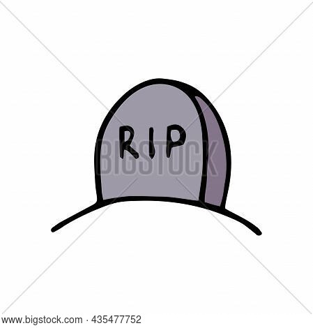 Vector Doodle Grave. Gray Gravestone Isolated On White Background. Headstone On The Tomb. Cartoon Ce
