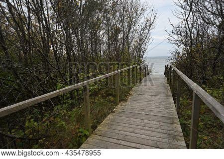 Wooden Path At Dunes, Way To The Beach Of The Baltic Sea