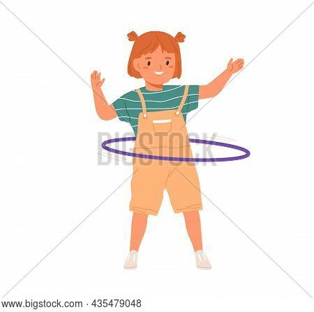 Cute Girl Twirling Hula Hoop Around Waist. Little Smiling Kid Having Fun With Toy Ring. Happy Active