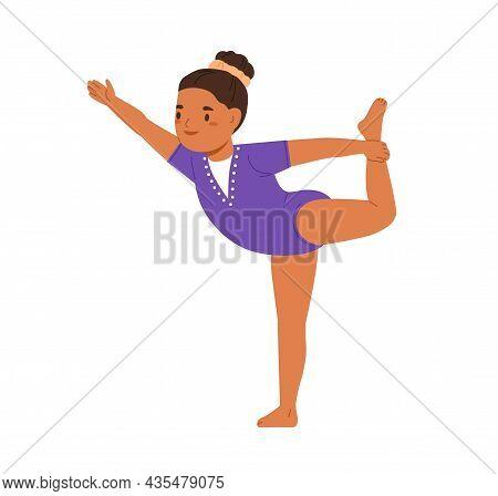 Happy Girl Gymnast Exercising. Little Child Doing Gymnastics. Cute Kid At Gym Balancing Posture. Jun