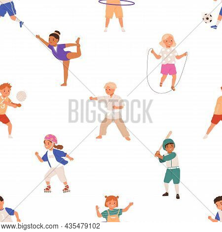 Seamless Pattern With Healthy Sports Activities For Children. Endless Repeating Background With Acti