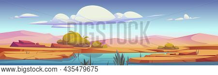 Desert Oasis With River, Sand Dunes And Plants Cartoon Landscape. Vector Parallax Background For Gam