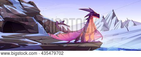 Winter Dragon Sitting On Rock At Snowy Mountains Landscape. Cartoon Fantasy Character, Magic Creatur