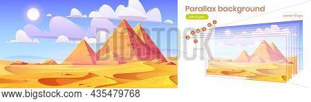 Egypt Pyramids Parallax Background 2d Desert Landscape. Egyptian Ancient Landmarks At Golden Sand Du