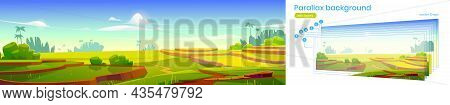 Asian Rice Field Terraces Parallax Background 2d Mountains Landscape With Separated Layers For Game
