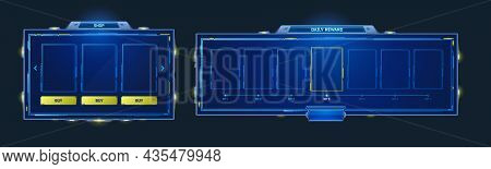 Game Hud Frames In Sci Fi Style For Shop And Daily Reward. Vector Futuristic Design Of Game Gui Elem