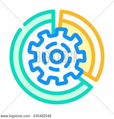 Gear Working Process Erp Color Icon Vector. Gear Working Process Erp Sign. Isolated Symbol Illustrat