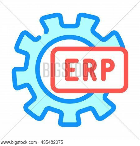 Erp Working Processing Color Icon Vector. Erp Working Processing Sign. Isolated Symbol Illustration
