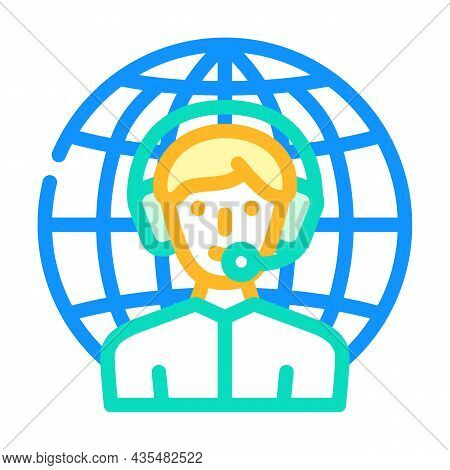 Worldwide Support Color Icon Vector. Worldwide Support Sign. Isolated Symbol Illustration