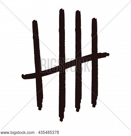 Tally Marks Lines Or Sticks Hand Drawn Isolated On White Background. Counting Waiting Number On Wall