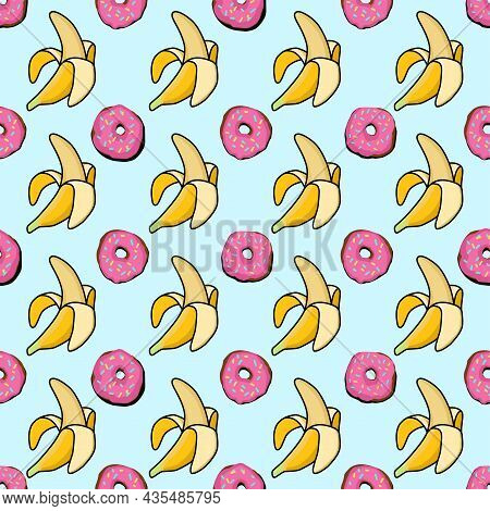 Seamless Pattern Donuts And Bananas. Pop Art Pattern. America Of The 60s. Bright Stylish Ornament Wi