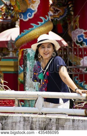 Asian Travelers Thai Women People Wearing Hat White Color  Travel Visit Respect Praying Angel Deity
