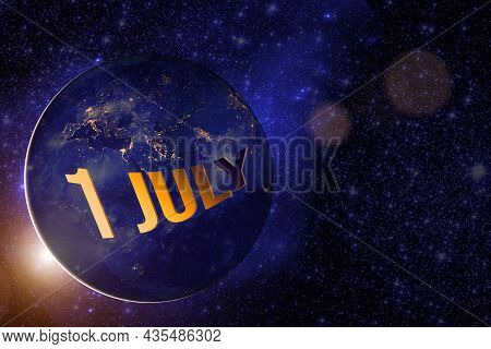 July 1st . Day 1 Of Month, Calendar Date. Earth Globe Planet With Sunrise And Calendar Day. Elements