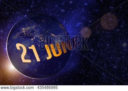 June 21st . Day 21 Of Month, Calendar Date. Earth Globe Planet With Sunrise And Calendar Day. Elemen