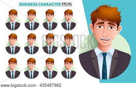 Businessman Facial Expressions Vector Set. Business Man Character In Smiling, Laughing, Serious And