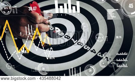 Businessman Leader Aiming At Mission Target. Conceptual Of Challenge In Business Marketing Bullseye