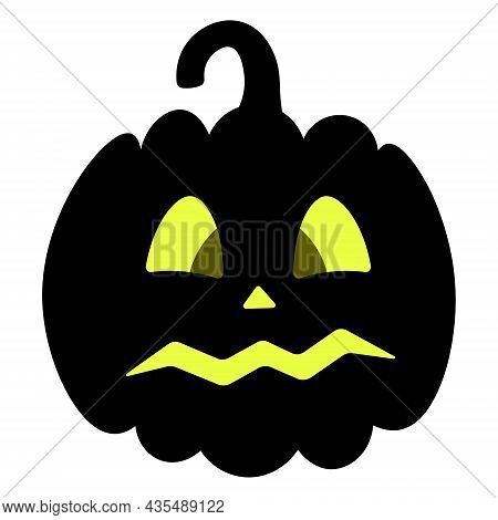 Pumpkin. Silhouette. Frightened Facial Expression. Vector Illustration. Isolated White Background. H