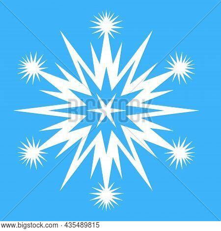 Snowflake For Design, Star Spark In Snowflake Pattern, Vector Illustration