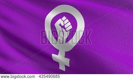 Feminist Flag Blowing In The Wind. 3d Rendering Illustration Of Waving Sign