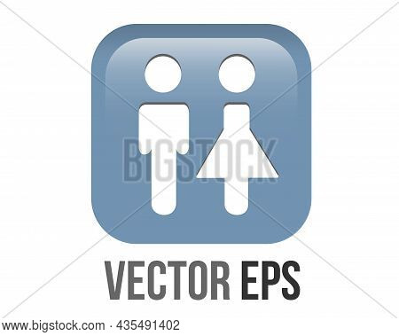 Vector Gradient Blue Restroom Round Corner Square Icon Button With Iconography Of Man And Woman