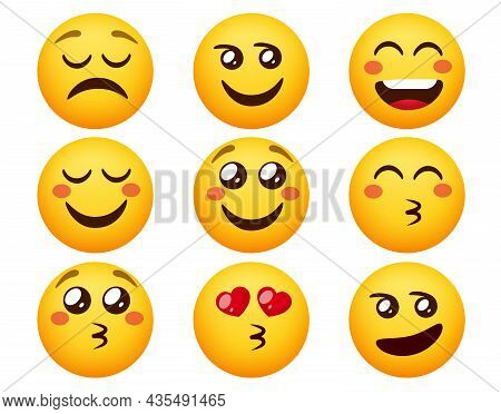 Emoji In Love Vector Set. Emoticons Characters In Blushing, Smiling And Kissing Face Expression For