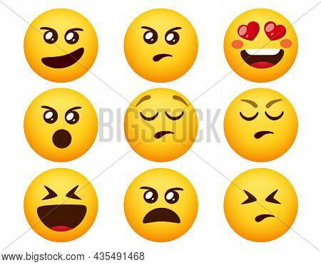 Emoji Angry Emoticon Vector Set. Emoticons Emojis With Angry, Upset And Wicked Facial Expression Iso