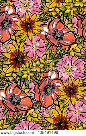 Seamless Large Pattern. Colorful Summer Flowers. Verbena Mallow Maquis And Rudbeckia.