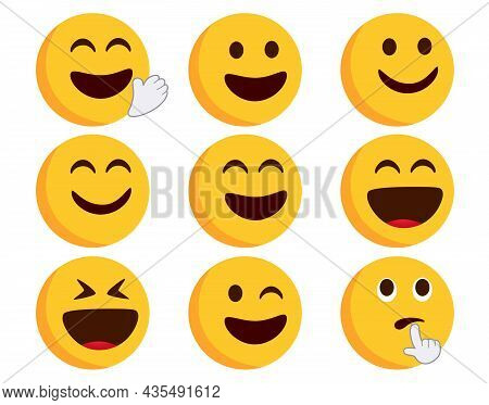 Emoticon Flat Vector Set. Emoticons Character In Happy, Smiling And Laughing Expressions With Hand G